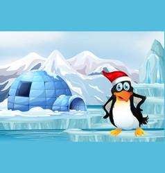 Scene with penguin on ice vector