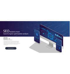 seo analytics team landing page vector image