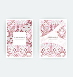 Set card ethnic bohemian arabesque pattern zigzag vector