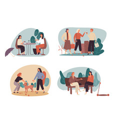 set four free time or leisure cartoon vector image