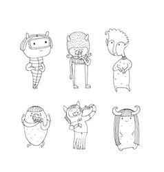 Set of cute monsters hand drawn in doodle style vector image