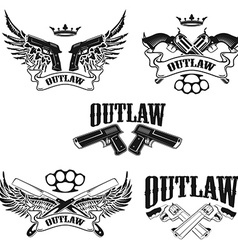 Set of outlaw t-shirt print design templates vector