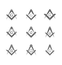 Set with masonic square and compasses vector