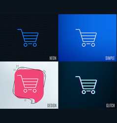 shopping cart line icon online buying sign vector image