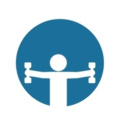 Silhouette fitness man weight dumbbell blue vector