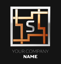 silver letter s logo in silver-golden square maze vector image