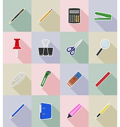 stationery flat icons 18 vector image