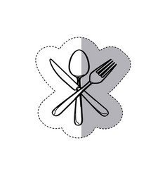 Sticker figure cutlery icon vector