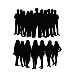 student team silhouette vector image