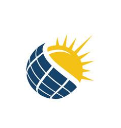 sun energy solar panels logo house and template vector image