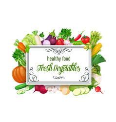 Template with vegetables vector