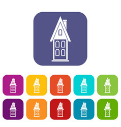 Two storey house with attic icons set vector