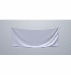 White textile advertising banner mockup vector