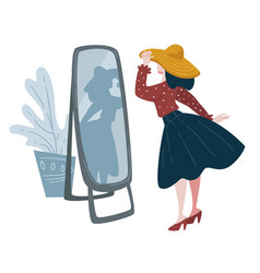 Woman trying on hat in front mirror fashion vector