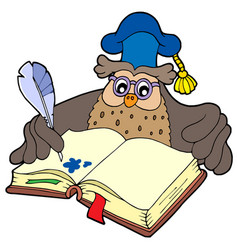 writing owl teacher vector image