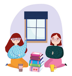 Young women on knees with books and coffee vector