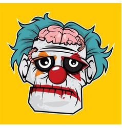 zombie head - sad clown zombie vector image