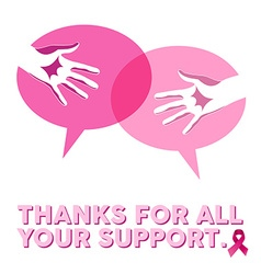 Breast cancer awareness social support hands vector image vector image