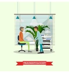 Hospital concept traumatologist provides medical vector