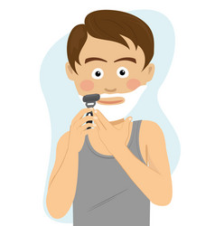 teenager boy shaving for the first time vector image vector image
