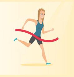 young caucasian sportswoman crossing finish line vector image
