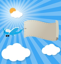 airplane in the sky with empty advertising banner vector image