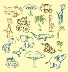 animals doodles vector image vector image