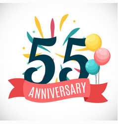 anniversary 55 years template with ribbon vector image vector image