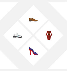 Flat clothes set of male footware heeled shoe vector