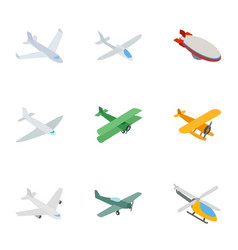 flying aircraft icons isometric 3d style vector image vector image