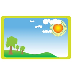 Meadow with sun vector