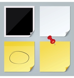 Photo frame white paper yellow stick note set vector image