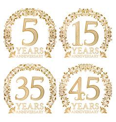 set of golden anniversary seals fifth fifteenth vector image vector image
