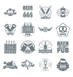 beer alcohol logo icons set simple style vector image