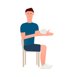 cartoon of seated man in chair with vector image
