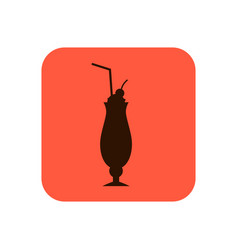 fast food cocktail flat silhouette icon or vector image