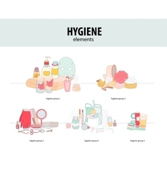 Hygiene elements groups vector image vector image