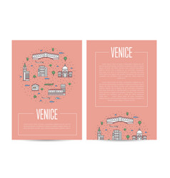 venice city traveling advertising in linear style vector image vector image
