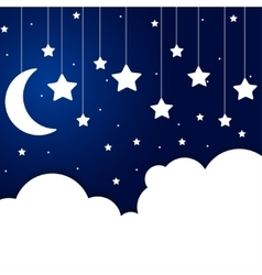 Elements of paper clouds and stars on a string vector image