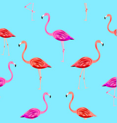 flamingo seamless pattern on mint blue background vector image vector image