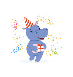 funny baby hippo character in a party hat holding vector image vector image