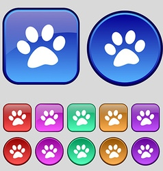paw icon sign A set of twelve vintage buttons for vector image