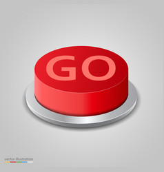 realistic red go button on white background vector image