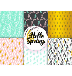spring funky seamless patterns vector image vector image