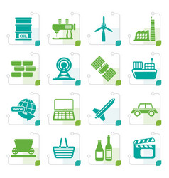 stylized simple business and industry icons vector image
