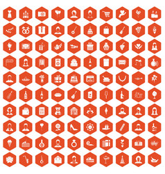 100 birthday icons hexagon orange vector