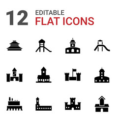 12 historical icons vector