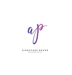 A p ap initial letter handwriting and signature vector