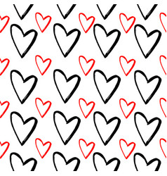 abstract seamless pattern of hand drawing hearts vector image