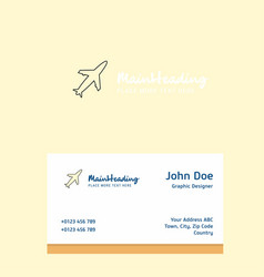 aeroplane logo design with business card template vector image
